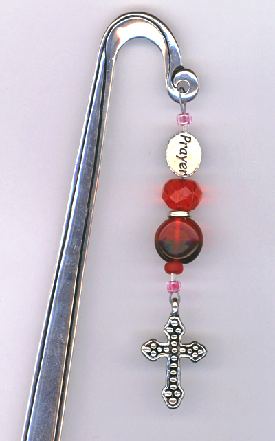prayer cross silver beaded bookmark