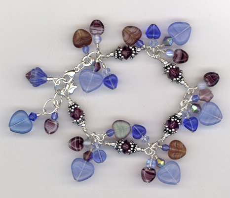 Blue Heart Purple Crystal Charm Bracelet
