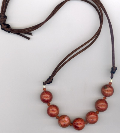 Cherry Agate Chocolate Brown Silk Necklace