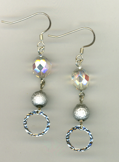 Holiday Silver Sparkle 2 Crystal Earrings