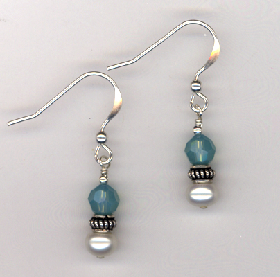 Bridal Blue Pearl Crystal Earrings