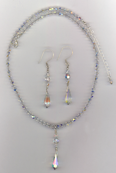 Bridal Crystal Necklace/Earrings Set ~ Glory