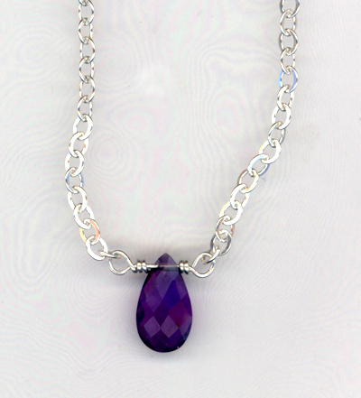 amethyst teardrop gemstone necklace