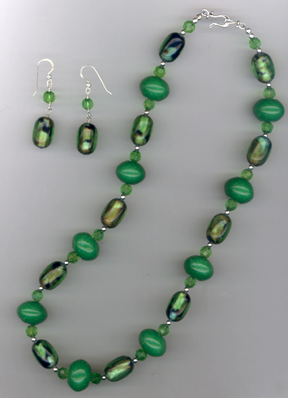 Green Jade Crystal Necklace Set