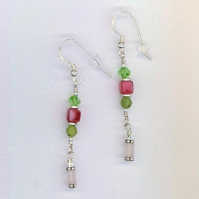 Pink & Green earrings