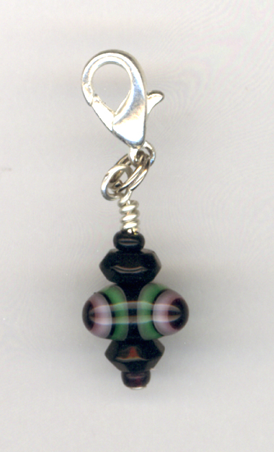 Black Lampwork Beaded Zipper Pull