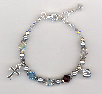 Custom Mother/Daughter Sterling Crystal Beaded Bracelet