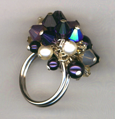 Purple Velvet Champagne Cha-cha Crystal Ring