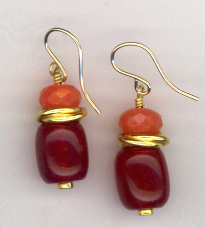 Sliced Melons ~ Gemstone Gold Earrings