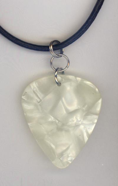 white pearl Fender Guitar Pick Necklace