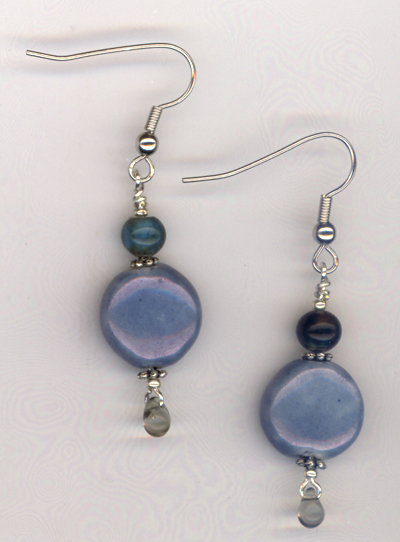 Hope ~ Blue Lampwork Beaded Earrings