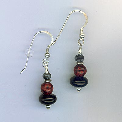 black red earrings