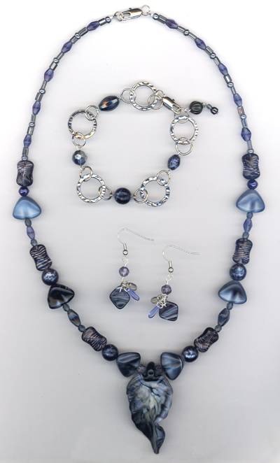Midnight Blue Beaded Jewelry Set