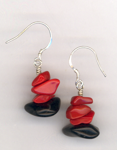 Big Bold Beautiful ~ Black & Red Gemstone Earrings