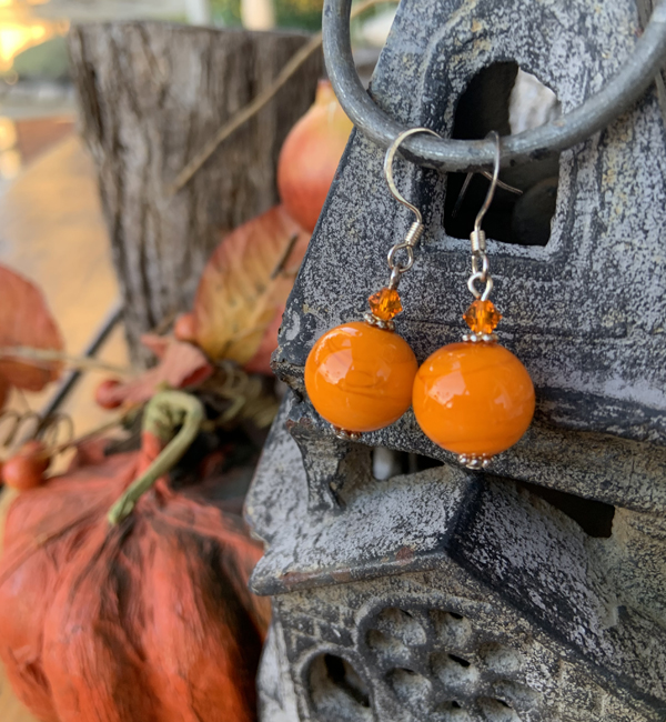Orange Delight ~ Turquoise Crystal Earrings