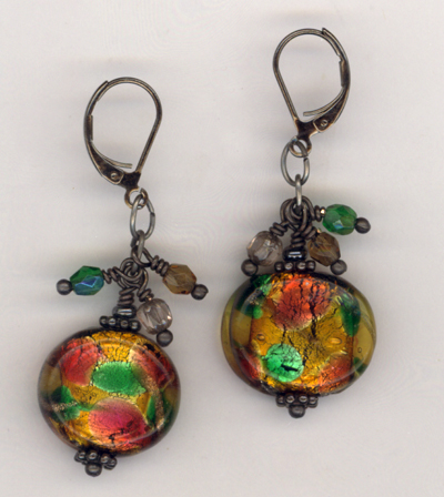 Fall Harvest ~ Lampwork Gun Metal Earrings