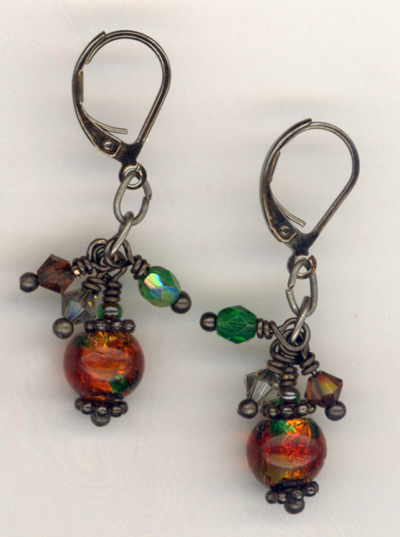 Fall Harvest 2 ~  Lampwork Gun Metal Earrings