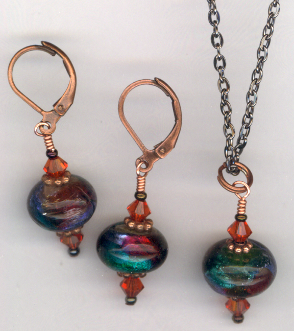 Indian Summer ~ Lamwork Copper Jewelry Set