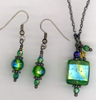 Bermuda ~ Lampwork Crystal Jewelry Set