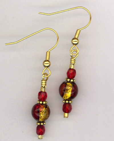 Red Delicious ~ Lampwork  Crystal Gold Earrings