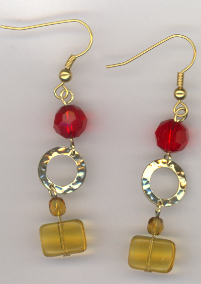 Red Gold Hammered Link Earrings