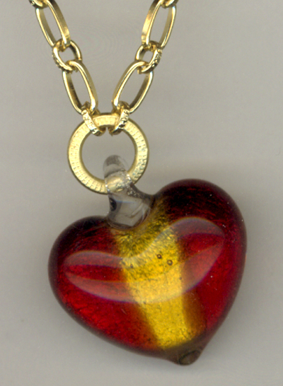 Art Glass Red Gold Heart Pendant Chain Necklace