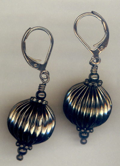Black Pleats ~ Gun Metal Earrings