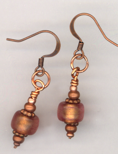 Copper & Pink Italian Art Glass Earrings