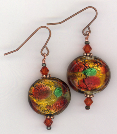 Harvest Indian Summer Lampwork Copper Earrings