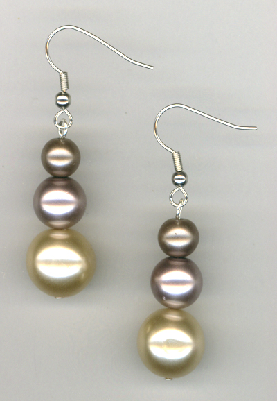 Tuxedo Triple Pearl ~ Earrings