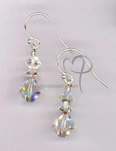 Crystal AB Swaro Short stack SS Ball Earrings