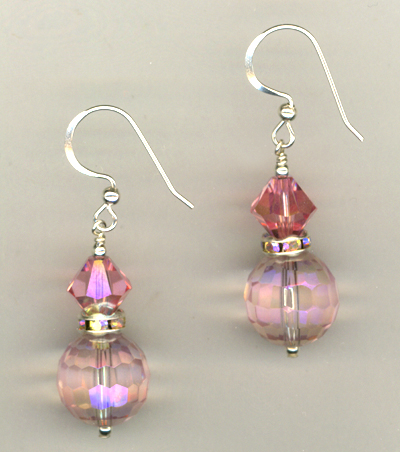 Cotton Candy Pink ~ Crystal Earrings