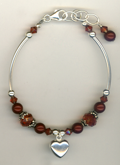 Flaming Fall ~ Crystal Pearl Charm Bracelet