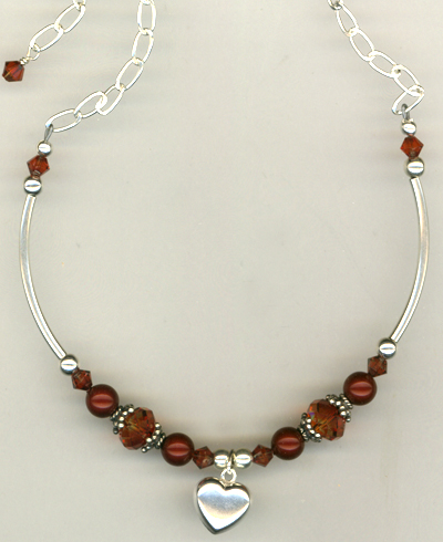 Flaming Fall ~ Crystal Pearl Charm Necklace