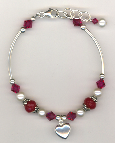 Revel In The Love ~ Pink Fuchsia Crystal Pearl Charm Bracelet
