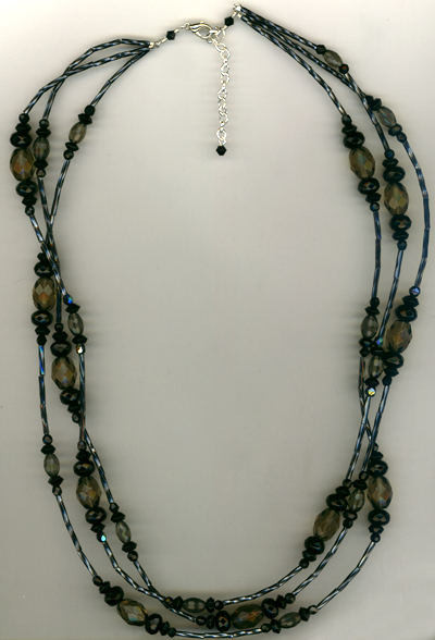 Black as Night 3 strand layered crystal necklace
