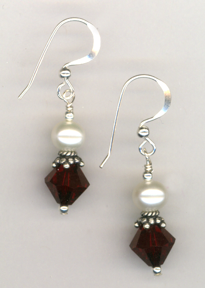 Revel In The Love ~ Garnet Crystal Pearl Earrings