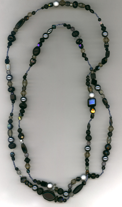 Super Long Jet Black Beaded Necklace