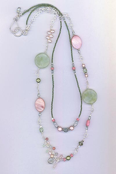 Cool Summer Pearl Pink Jade Green Necklace