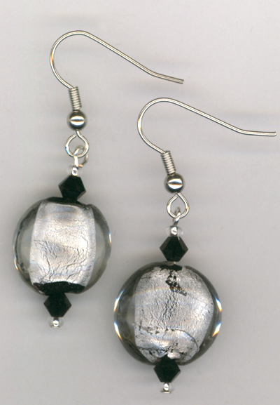 Stunning Silver Art Glass Earrings
