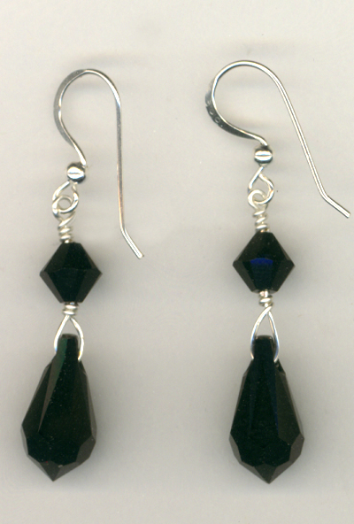 Jet Black Crystal Beauty Earrings