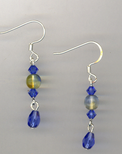 Sapphire Golden Crystal Earrings