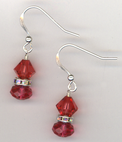 Indian Pink Swarovski Crystal Sterling Silver Earrings