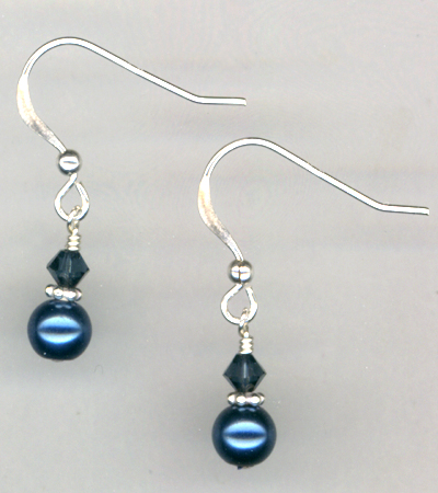 Indigo Blue Pearl Crystal Sterling Earrings