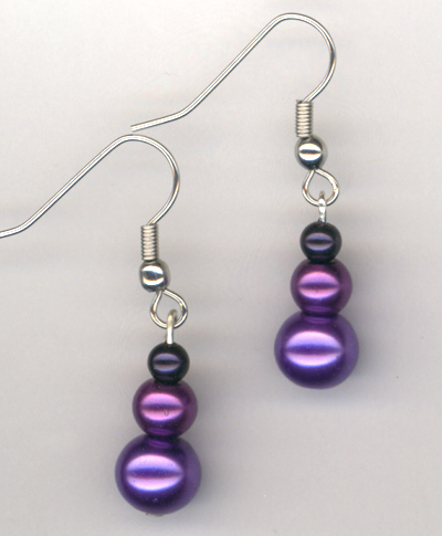 Perfect Purple Triple Stack Earrings
