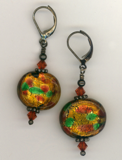 Fall Harvest ~ Lampwork Crystal Gun Metal Earrings