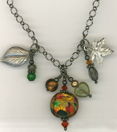 Fall Harvest ~ Gun Metal Leaf Lampwork Charm Necklace