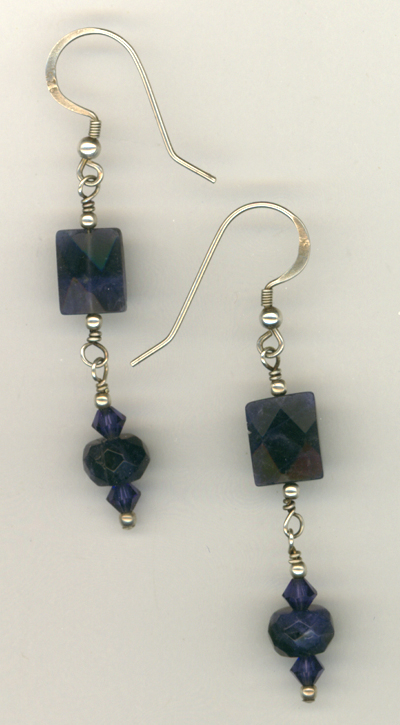 Lapis Gemstone Swarovski Crystal Sterling Earrings