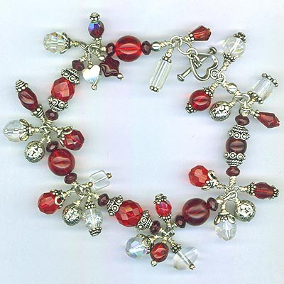 Red Crystal Fancy Charm Bracelet