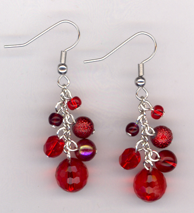 Lady In Red ~ Beaded Earrings